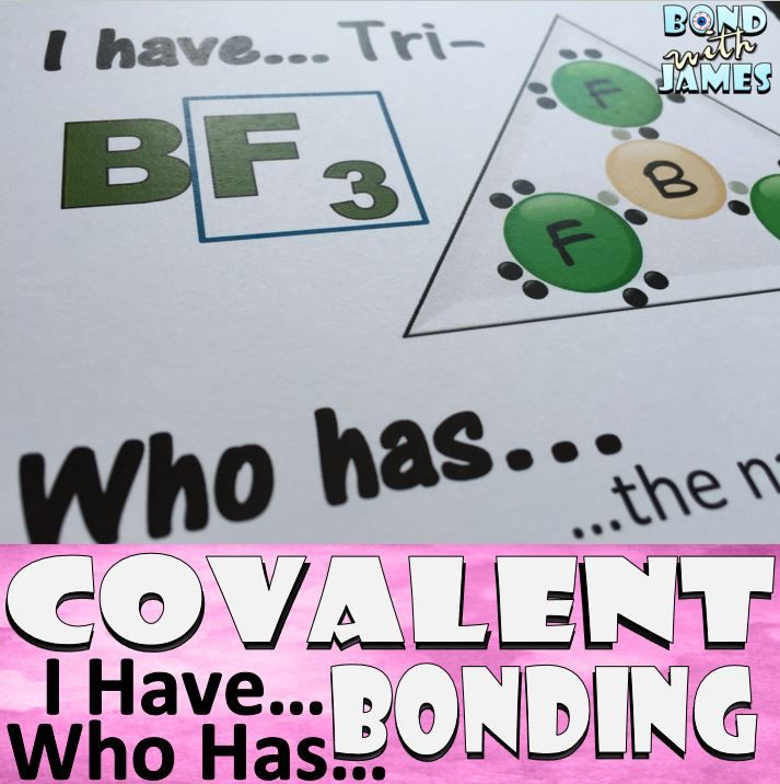 Review covalent bonding with the I Have…Who Has… card game. Play as a class or in small groups [28 cards].