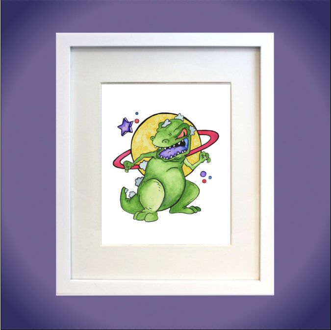 Reptar Watercolor Print 90s Nostalgia Rugrats Nickelodeon Fan