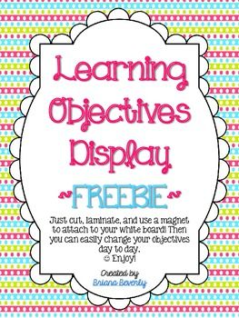An easy way to display the learning objectives in your classroom for each day…