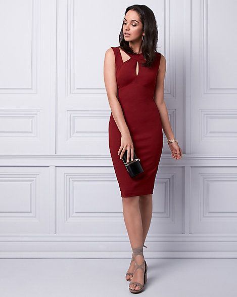Knit Crêpe Halter Dress - A strappy neckline adds romantic detail to a stunning evening dress with a chic midi silhouette.