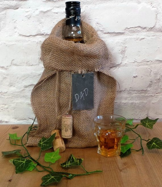 Bottle Bag, Burlap Gift Bag, Bag, Fathers Day, Dad Gift, Mens Birthday Gifts, Gifts for Him, Rustic Gifts Bags, Gift Bag Hessian, Handmade