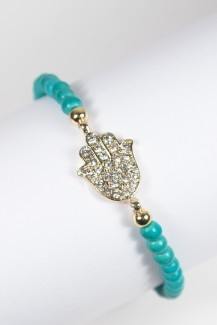 Turquoise Beaded Hamsa Bracelet $16