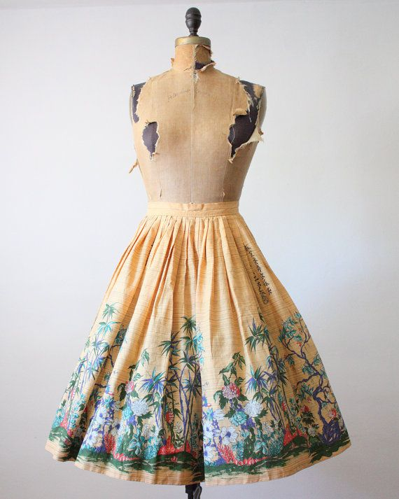 50s novelty print skirt 1950s skirt 1950's by 1919vintage