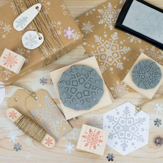 Christmas Dotty Snowflake Rubber Stamp by Skull and Cross Buns