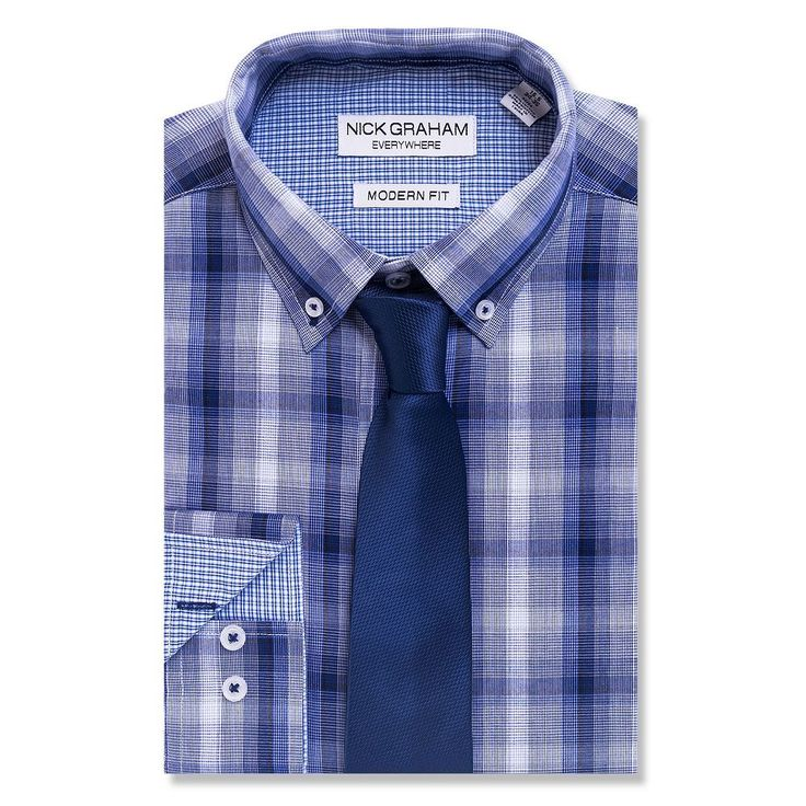 Men's Nick Graham Everywhere Modern-Fit Dress Shirt and Tie Boxed Set, Size: Xl-34/35, Blue