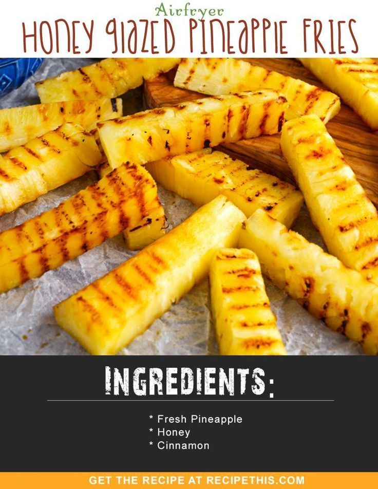Airfryer Recipes | Airfryer Honey Glazed Pineapple Fries Recipe from RecipeThis.com