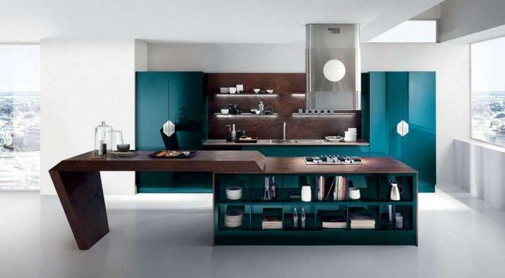 Idee per arredare la cucina con il verde petrolio - Cucina verde petrolio e legno