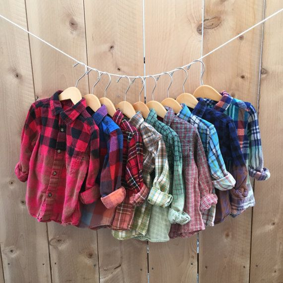 Toddler Grunge Bleached Plaid Flannel Shirt Unisex by RestoredRose