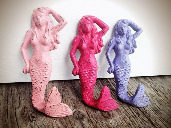 BOLD trio MERMAID towel hooks // powder pink lilac purple hot pink // wall hook girls nautical beach bathroom bedroom decor // shabby CHIC