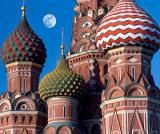 Discover the 20 Largest Countries in the World: St. Basil's Cathedral at moonrise in Moscow, the capital of the world's biggest country.
