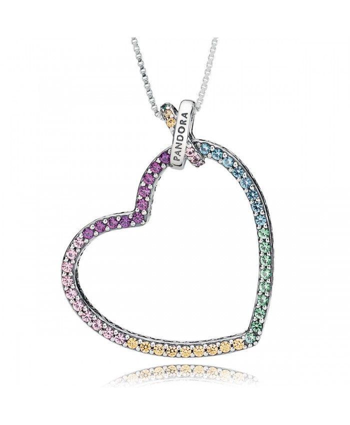 Pandora Collier Cœur Multicolore Pandora Infinity Bracelet Necklace