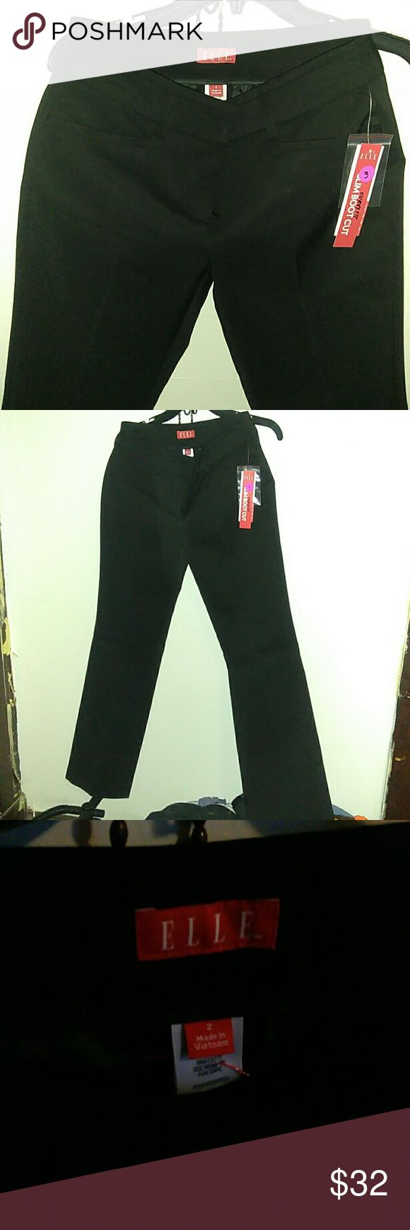 Curvy fit NWT Work Slacks black Black Business Casual work style pants. NWT. Elle brand. Size 2. Cotton polyester and spandex material See photos. Slim boot cut. Clasp and zipper. 2 front pockets. 2 buttons on the rear. casual day out or wear to work!! Elle Pants Boot Cut & Flare