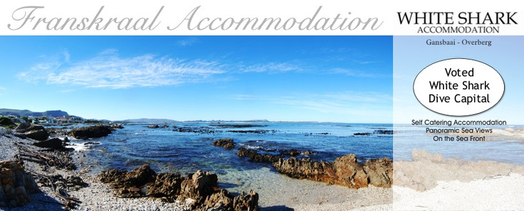 Franskraal Accommodation - fabulous self catering villas on the water's edge in Franskraal. Get close up and personal with white shark cage diving in Kleinbaai 2 minutes away.  Stunning sea views www.franskraalaccommodation.co.za