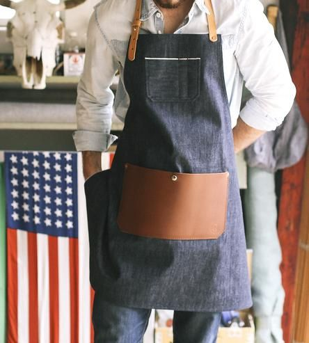 Slip on this industrial apron any time you need to get down and dirty at work. The thick selvedge denim protects clothes from any materials you work with, whether it's ink and paint or wood shavings and coffee grinds. The denim apron is fitted with plenty of pockets, too, to hold tools, extra paintbrushes or your phone handy.