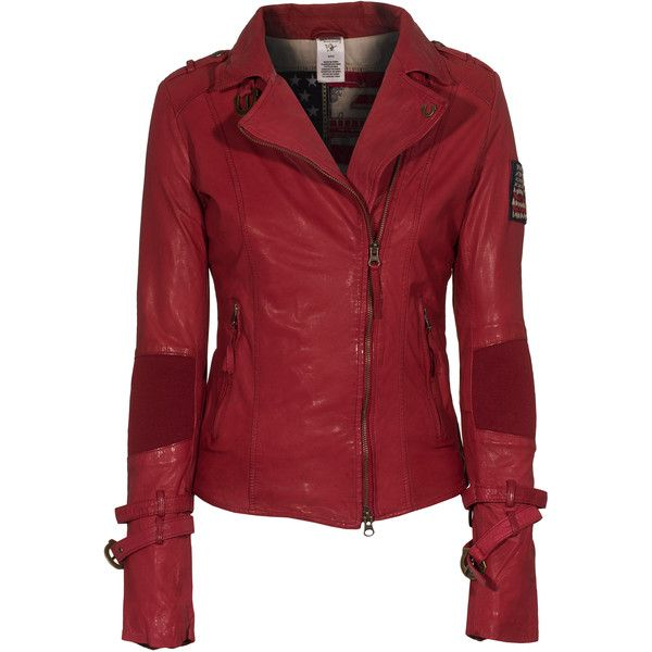 TRUE RELIGION Buckle Up Red Leather jacket with straps found on Polyvore