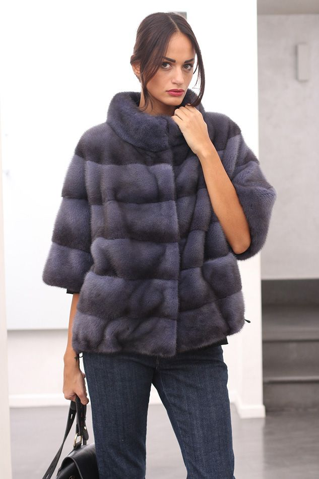 Female Mink Fur with whole skins. Made in Italy. Skins Quality: KOPENHAGEN FUR PLATINUM; Color: Blue Denim; Closure: With Hooks; Collar: Round; Lining: 100% Satin; Lining Color: Fantasy, Multicolor; Length: 60 cm; #elsafur #fur #furs #furcoat #coat #mink #minkcoat #cappotto #peliccia #pellicce