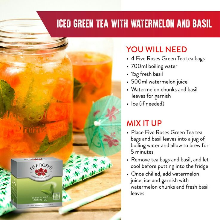 Iced Green tea with watermelon and basil