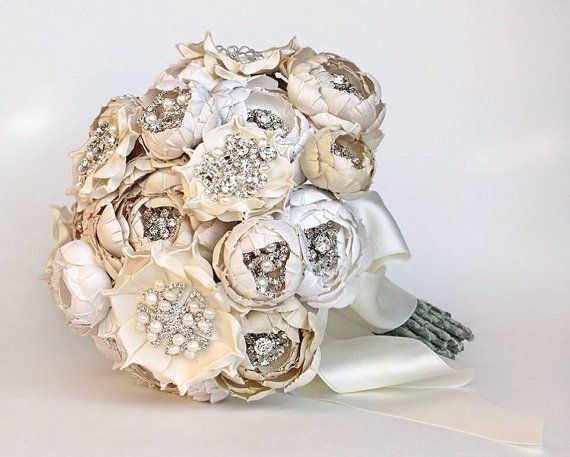 Couture Silk Fabric Flower Crystal and Pearl Bouquet by EmiciLivet