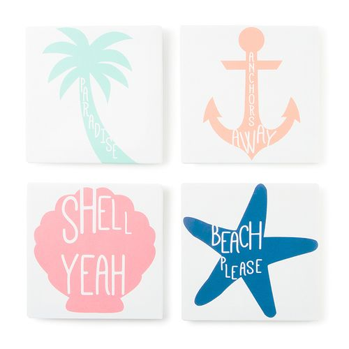 Beach House Wall Canvases Set of 4. Great for our ocean themed apartment