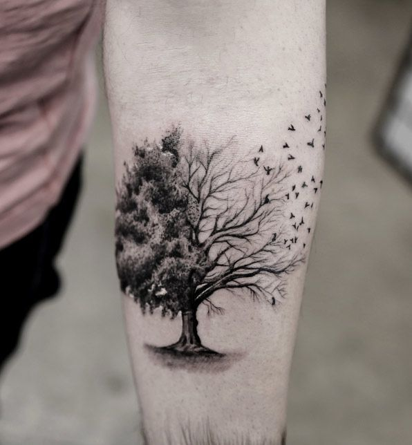 Tree Tattoo on Forearm by Turan