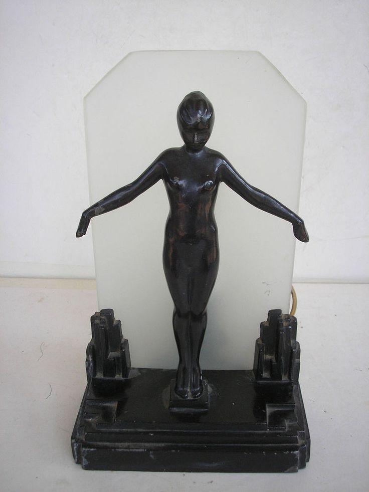 American Art Deco Frankart Double Nude Table Lamp   Modernism