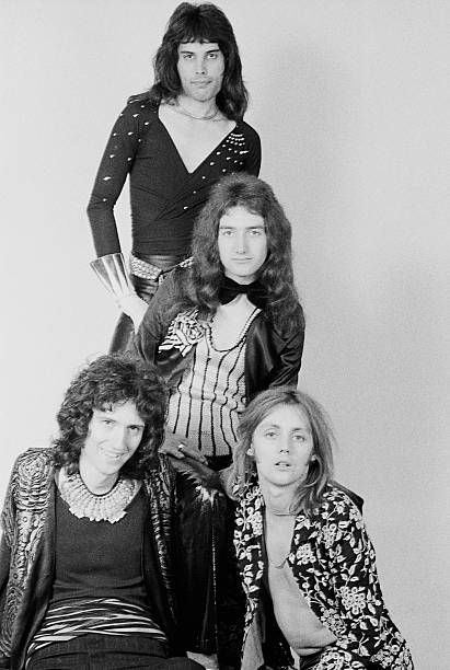 British rock band Queen, London, 1973. Left to right: guitarist Brian May, singer Freddie Mercury (1946 - 1991), bassist John Deacon and drummer Roger Taylor.