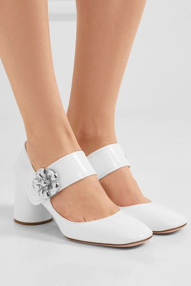 Prada - Embellished Patent-leather Mary Jane Pumps - White - IT36.5