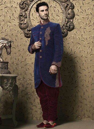 Royal blue indo western groom sherwani of the year 2015 by google collection Only Rs.13200