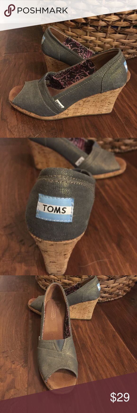 Tom's Classic Wedge, size 7 1/2 Tom'sClassic Cork Wedge, size 7 1/2,  color is Silver/Grey TOMS Shoes Wedges