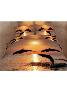 Strong and Vigorous Dolphin in the Setting Sun 4 Piece Cotton Bedding Sets: Beds Covers, Oil Paintings, Duvet Covers, Dolphins, Bedlinen, Comforter Sets, Beds Sheet, Beds Linens, Beds Sets