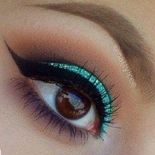 @vegas_nay Here are the step...Instagram photo   Websta (Webstagram) Brown eyes makeup look. Stila Turquoise Eyeliner.