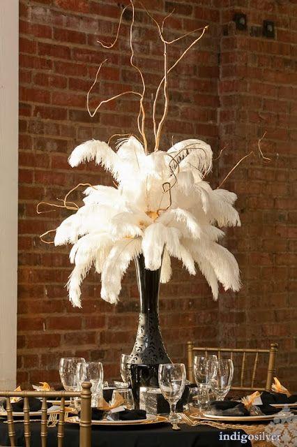 RSVP: The RiverRoom Blog: December 2013. Rachel & Robert black, white, and gold 50's glam wedding cake. Floral centerpieces. Dramatic centerpieces.
