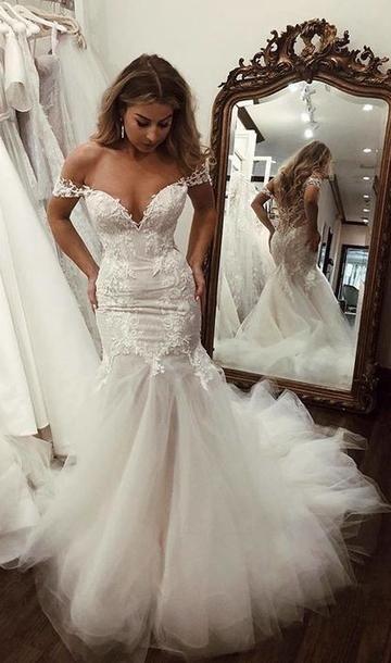 f5dd1283bf Off Shoulder Tulle/Lace Wedding Dress,Mermaid Fashion Bridal Dresses,C –  YourDressTailor