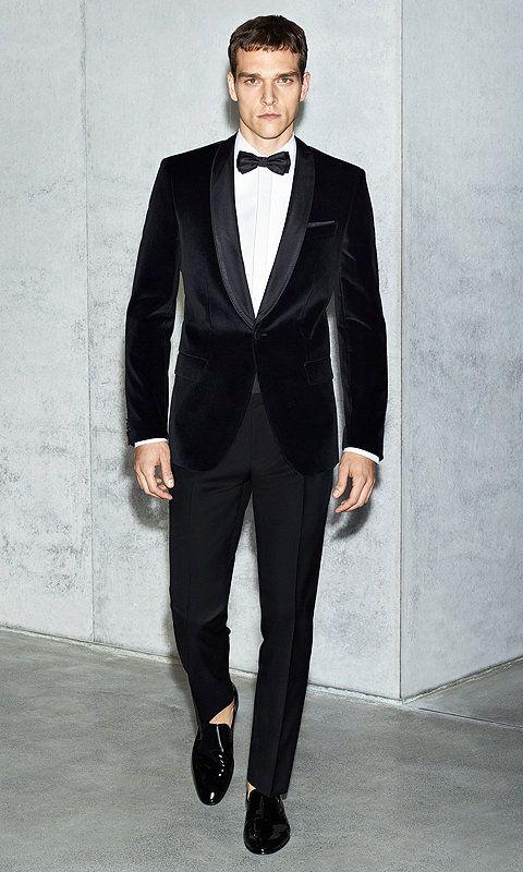 smoking noir avec un n ud papillon noir et une chemise blanche boss men style pinterest. Black Bedroom Furniture Sets. Home Design Ideas