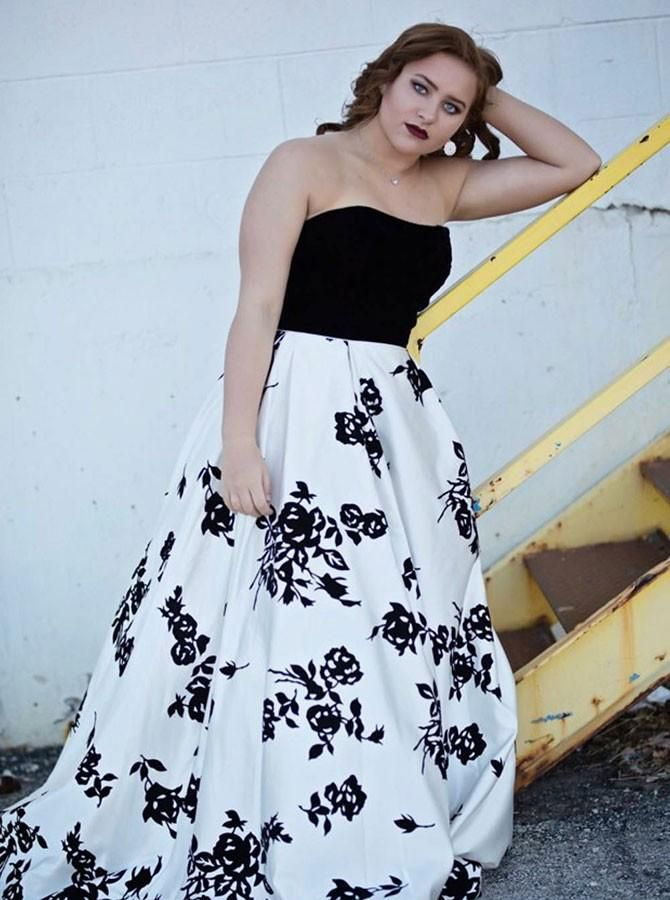 c553bee00468 A-Line Strapless Sweep Train Black Floral Satin Plus Size Prom Dress ...