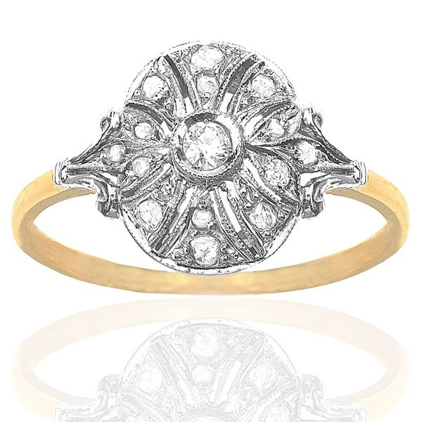 Darling Art Deco Diamond Cluster Ring in Platinum & Yellow Gold