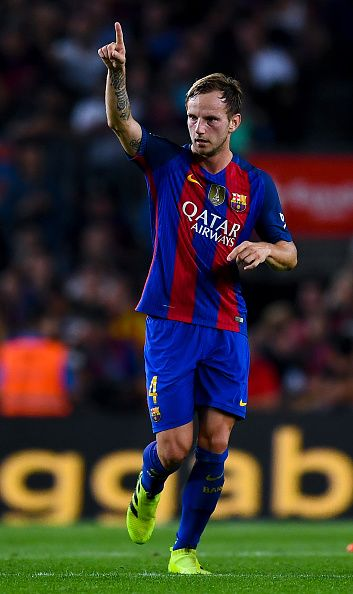 Ivan Rakitic of FC Barcelona celebrates after scoring his team's first goal…