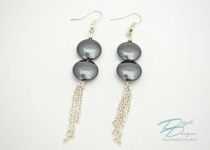 Silver Chain & Hematite Disc Dangle Earrings by DizzleDesigns on Etsy