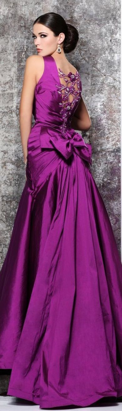 Stunning! #Radiant Orchid is so regal when used for a formal gown. I would have added sheer cap sleeves.