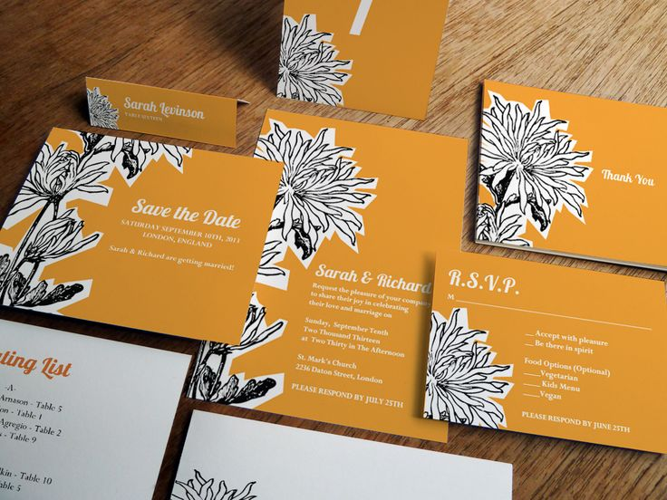 A Modern Orange Printable Wedding Invite Set Homemade Flair Just The Pdf Invitation Kitswedding