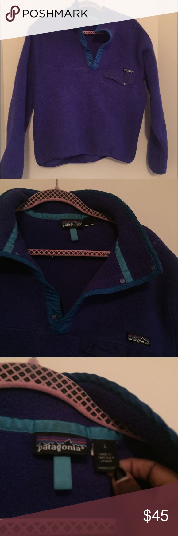 Blue & Purple Patagonia Only slightly used Patagonia Synchilla Jacket. Perfect for keeping warm and fashionable this winter! Patagonia Jackets & Coats