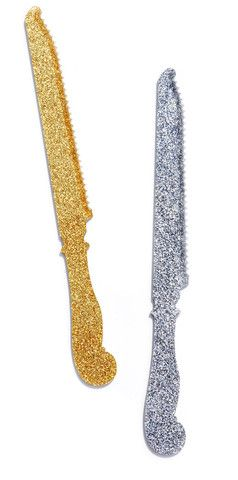 glitter cake knives