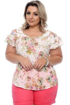 Blusa confeccionada em tecido de poliéster, gola em formato redondo, manga curta com detalhes em babado, detalhe em amarração nas costas, estampa floral. Entregamos em todo o Brasil.