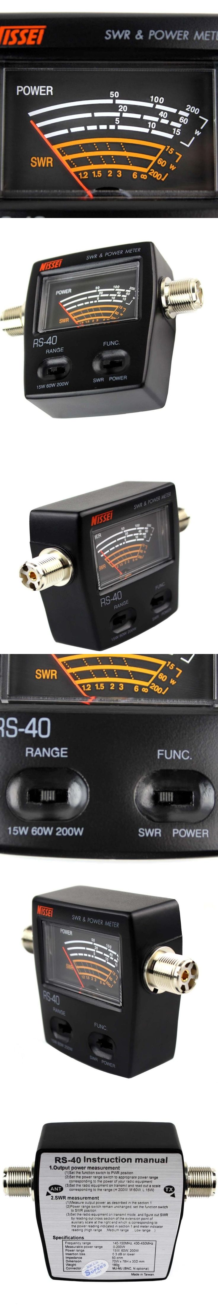 Professional UV Dual Band Standing-Wave Meter Power Meter SWR Meter for Walkie Talkie Testing SWR Power 144/430MHz 0-200W RS-40