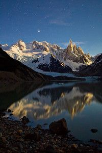 Cerro Torre with Stars and Reflections - Los Glaciares National Park, Argentina - Patagonia