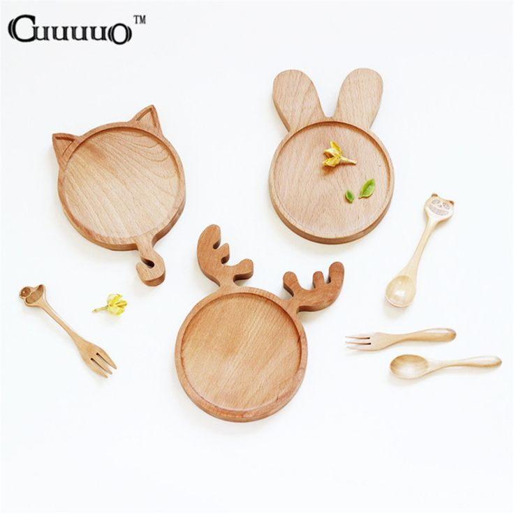 Cute Cartoon Animal Rabbit Bunny Cat Face Wood Dinner Plate Pattern Food Fruits Dish Wooden Service Plate Kid's Wood Dining Tray