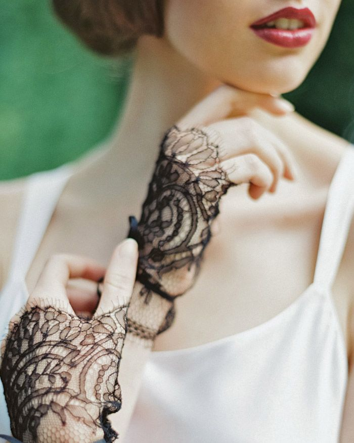 Black Lace Gloves by Enchanted Atelier | Laura Gordon Photography | Darkly Romantic Baroque Wedding Inspiration