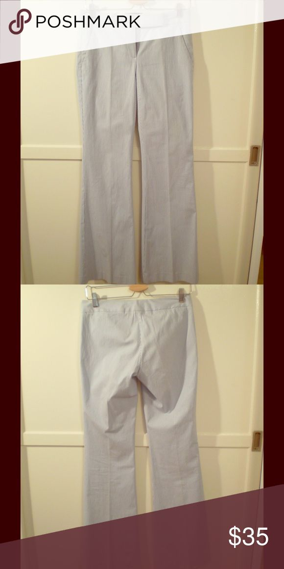 Theory bell-bottom blue and white seersucker pants Theory bell-bottom blue and white striped seersucker pants. No belt loops. Theory Pants Wide Leg