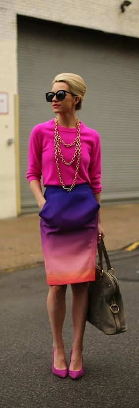 bright outfit with ombré skirt, hot pink sweater and gold statement necklace