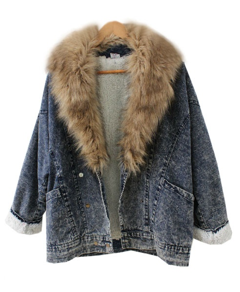 Denim Parka with Oversized Fur Collar Only if that's not animal fur